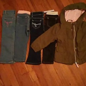 4 jeans and green/pink utility jacket